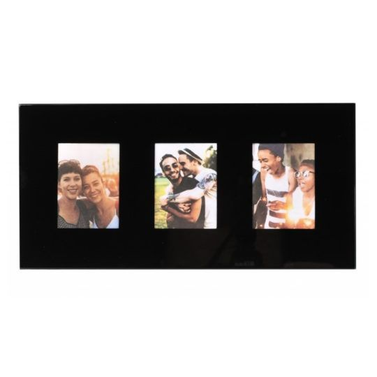 Ramka INSTAX MINI na 3 zdjęcia szklana czarna