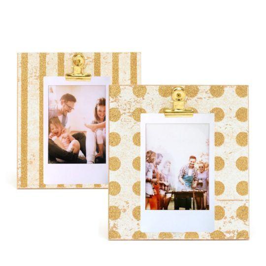 2x Drewniana ramka Instax Mini / Square na klips złota GOLD
