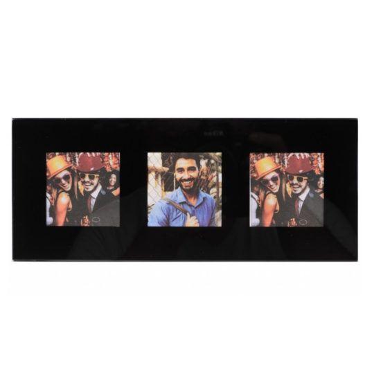 Ramka INSTAX SQUARE na 3 zdjęcia szklana czarna