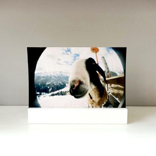 Podstawka drewniana na zdjęcie 10x15 biała